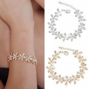 Gold Flower CZ Crystal Bracelet